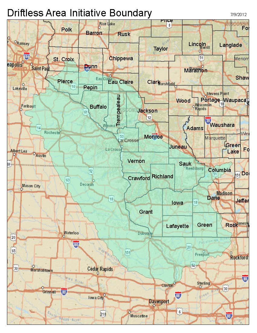 (map) of driftless area. driftless area selected for federal conservation funding  nrcs soils