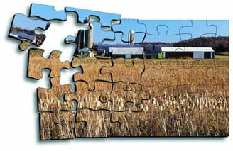 Photo of farmland in a jigsaw puzzle.