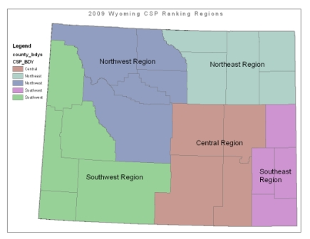 Wyoming map showing 2009 CSP Ranking Regions
