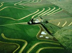 Aerial photo of farmland with conservation practices installed