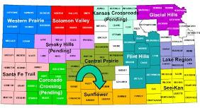 Kansas map showing RC&D areas; Sunflower is in south central Kansas