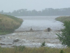 Photo of Upper Salt Creek 16 auxiliary spillway flow