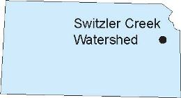 Kansas map showing location of Switzler Creek Watershed in Osage County