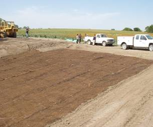 Installed turf reinforcement mat in Smith County, Kansas