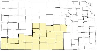 Kansas map with Administrative Area 2 highlighted