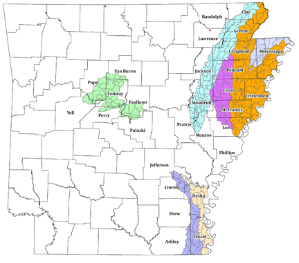 Photo showing the location of MRBI Watersheds in Arkansas