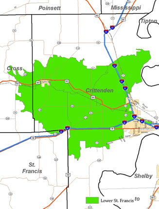 2011 MRBI Lower St. Francis Project Area Map