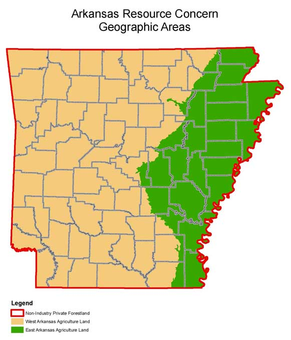 Map of 2009 Arkansas Resource Conserns Geographic Areas