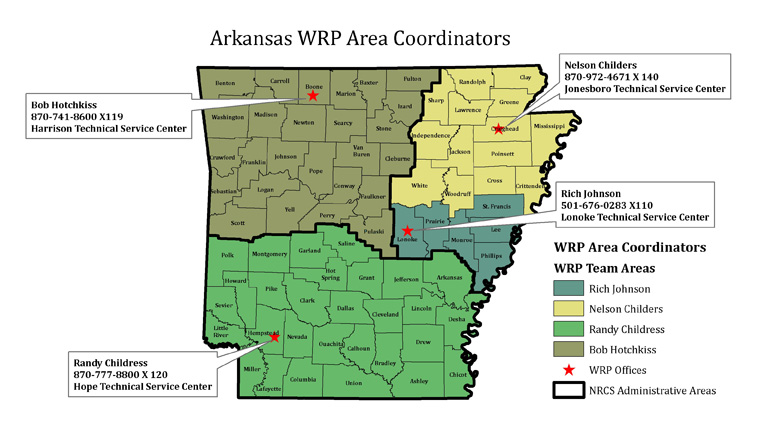 WRP Area Coordinators Contact Information