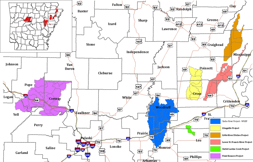 MRBI Project Areas in Arkansas