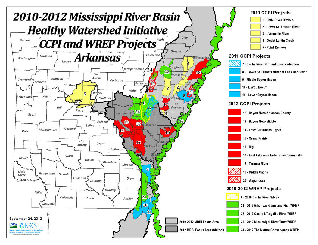 2010-2012 Arkansas MRBI Projects Map