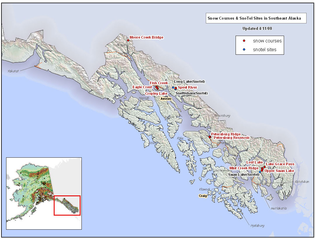 SNOTEL and Snow Course Sites in Southeast Alaska | NRCS Alaska