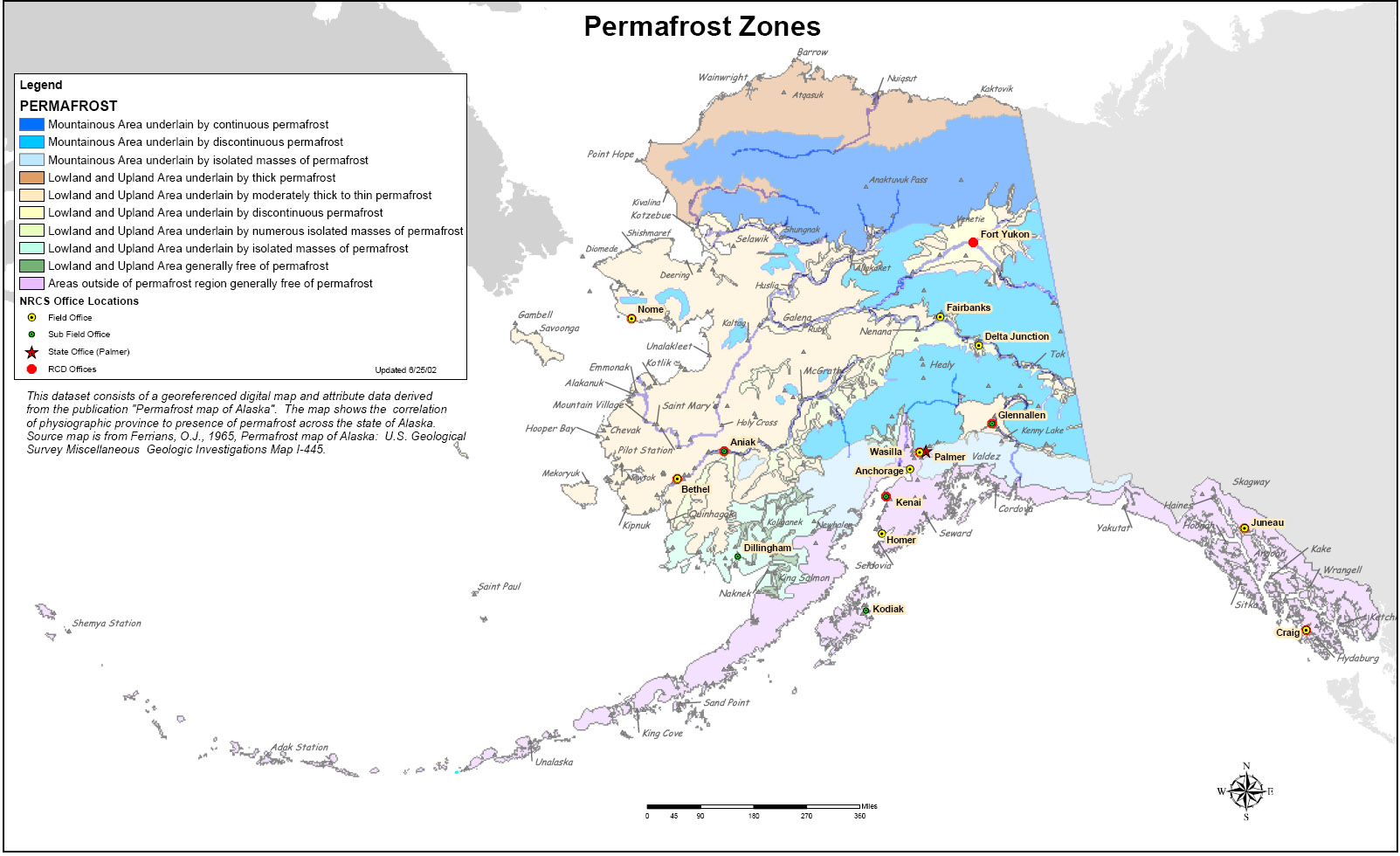 Map showing permfrost zones