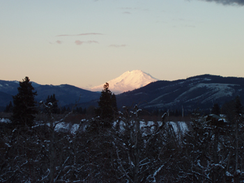 Lower Valley in winter with Mt Adams in background.