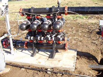 A disc filtration system used to filter water before entering a microirrigation system.