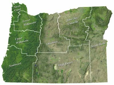 Map of Oregon outlining the 8 basins