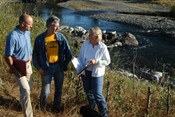 Landowner Ed Landis (center) discusses his conservation plan with NRCS Engineer Scott Wright and NRCS District Conservationist Theresa McGovern.