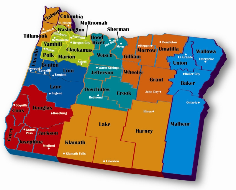 Counties in Oregon map