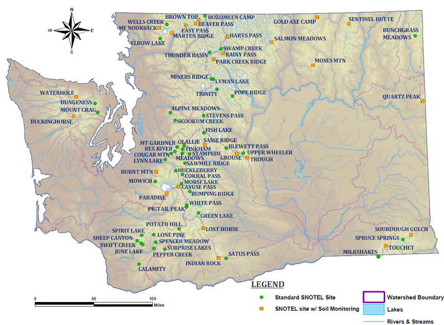 Clickable Map Of Washington SNOTEL Sites NRCS Oregon - Map of oregon and washington