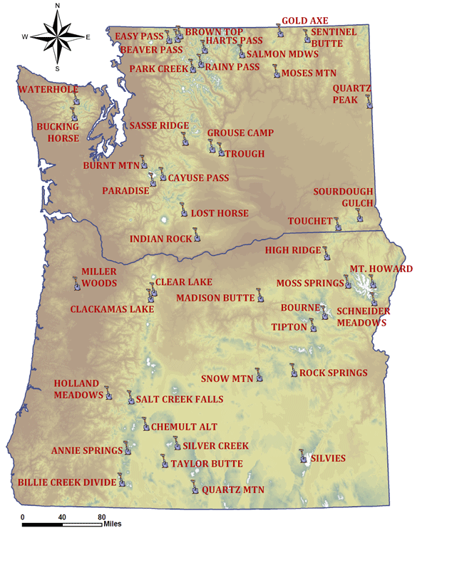 Oregon Washington Soil MoistureTemperature Site Map NRCS Oregon - Map of oregon and washington