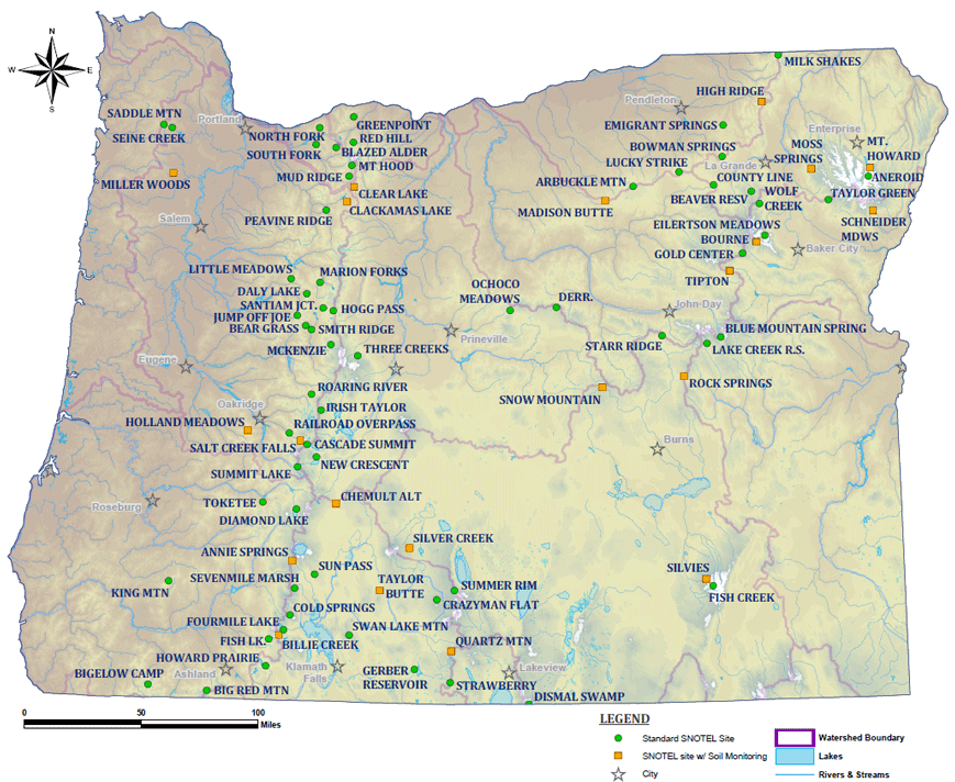 Oregon Map Image.Clickable Map Of Oregon Snotel Sites Nrcs Oregon