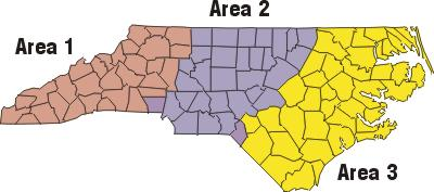 Map of North Carolina's three administrative areas.  Area One is primarily the western third of the state, Area Two is the central third, and Area Three is the eastern third.