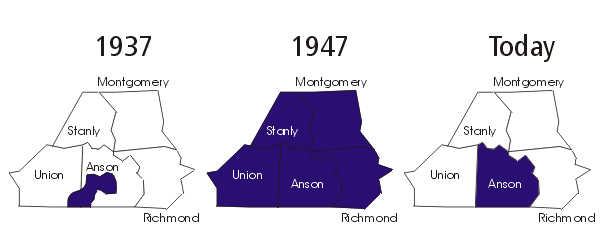 Brown Creek SWCD has evolved through the years.  Started in 1937 as a single watershed, by 1947 it encompassed five counties, including Anson, Union, Stanly, Richmond, and Montgomery.  Over time, the other four counties formed new SWCD and today Brown Creek SWCD contains only Anson County.