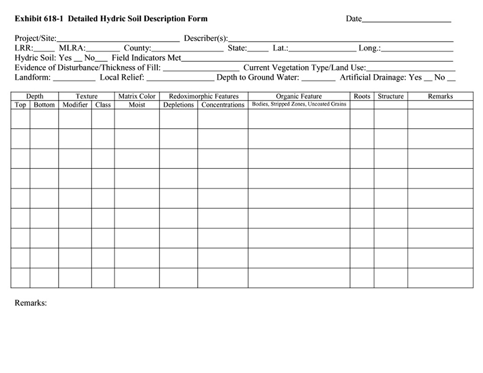 Front of the Detailed Hydric Soil Description Form.