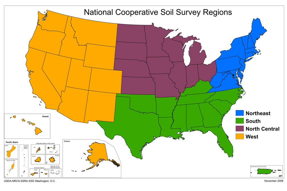 Map Of The NCSS Regions NRCS Soils - 4 regions of us map