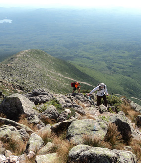 View facing south: soil survey crew approaching the Knife Edge of Katahdin, Baxter State Park, Maine.