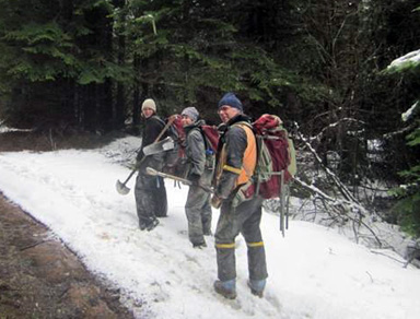 Soil sampling crew on a snowy forest trail.