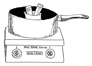 drawing of wax melting in a saucepan on a hot plate