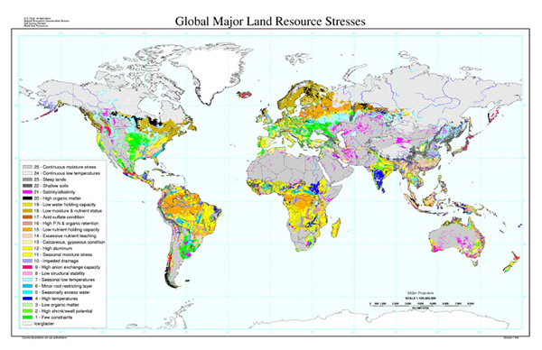 Global major land resource stresses map nrcs for Land and soil resources definition