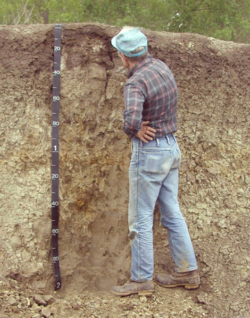 A soil scientist in a soil pit marking soil horizons.