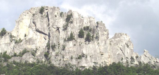 Large rocky cliff wall in West Virginia