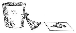 drawing of soil being sieved with a nylon