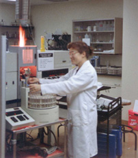 photo of soil scientist in the lab