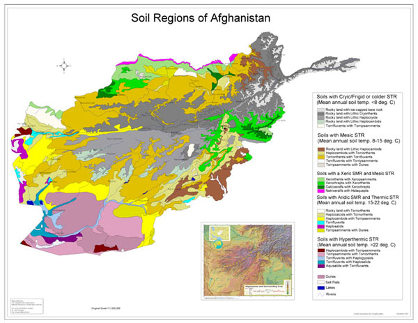 Soil Regions of Afghanistan map