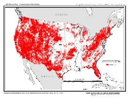 Drought Vulnerable Soil Landscapes Map showing soil areas of the U.S. capable of storing less than 6 inches of available moisture.