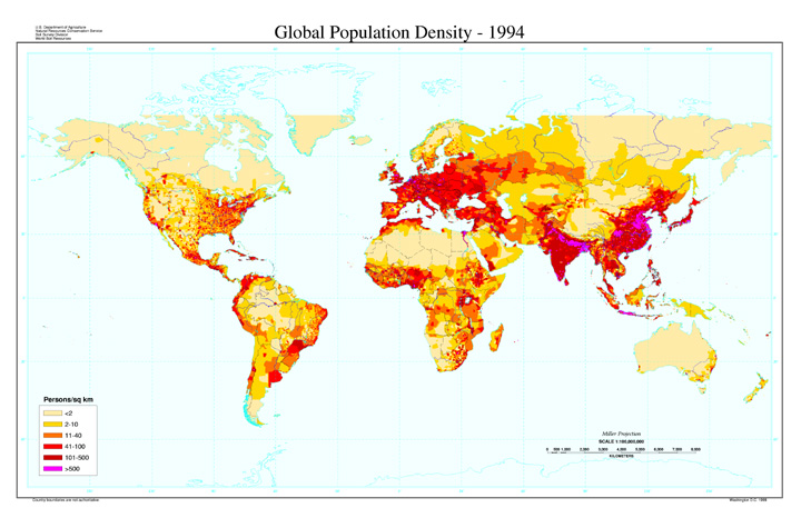Population Density Map Of The World Global Population Density Map | NRCS Soils