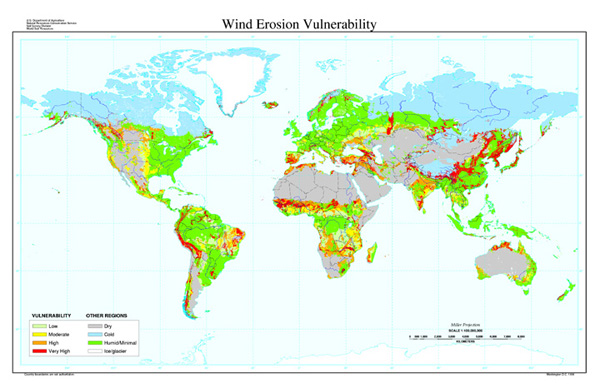 Vulnerability to Wind Erosion Map