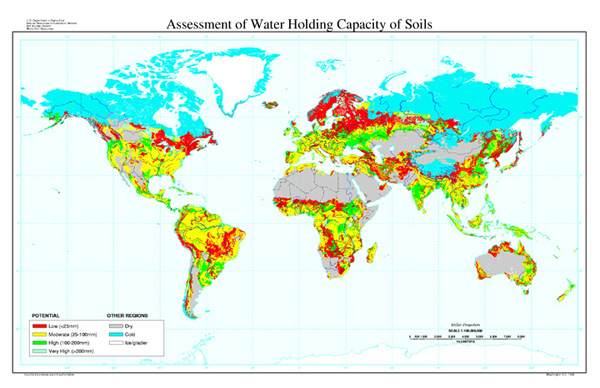 assessment of water holding capacity of soils map nrcs soils