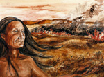 Soil painting of American Indian with field burn in background.