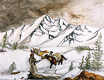 Soil painting with horses crossing snow-covered mountains.