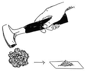 drawing of soil being crushed with mallet
