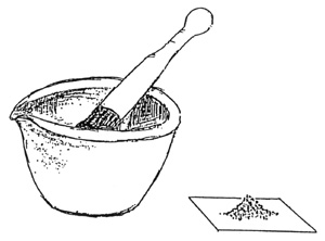 drawing of ground soil using mortar and pestle