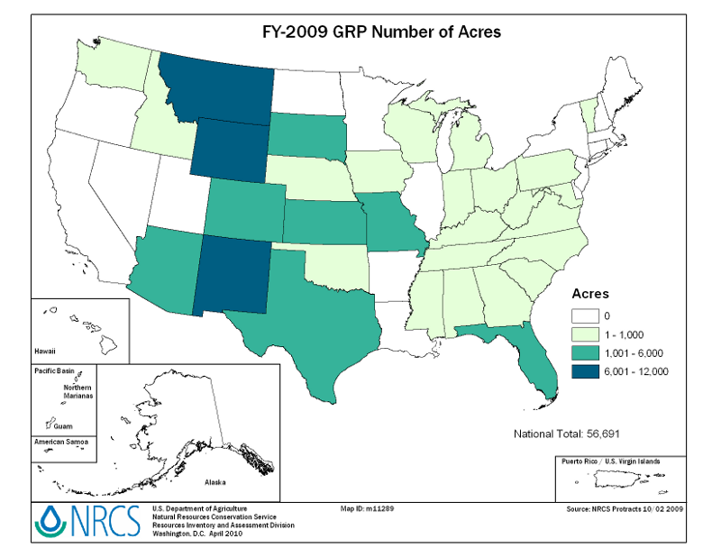 U.S. map showing the number of acres enrolled in GRP easements during FY2009, by State.