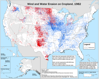 Map showing wind and water erosion on cropland, 1982