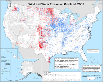 Map showing wind and water erosion on cropland, 2007