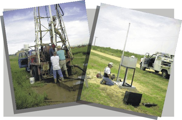 Drilling crew installing casing in monitoring well